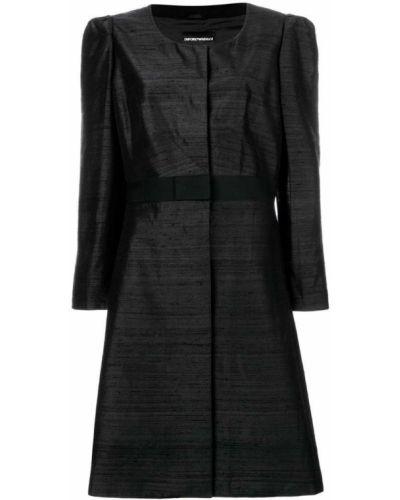 Черное длинное пальто с капюшоном с воротником Giorgio Armani Pre-owned