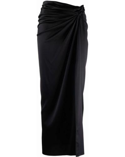 Шелковая черная юбка миди с драпировкой Magda Butrym