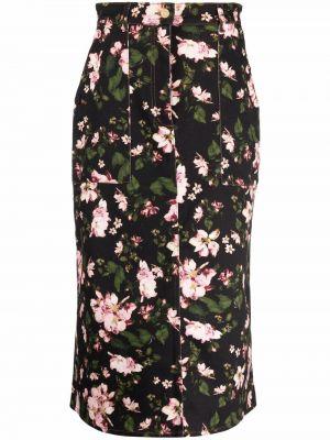 Хлопковая юбка миди - черная Erdem