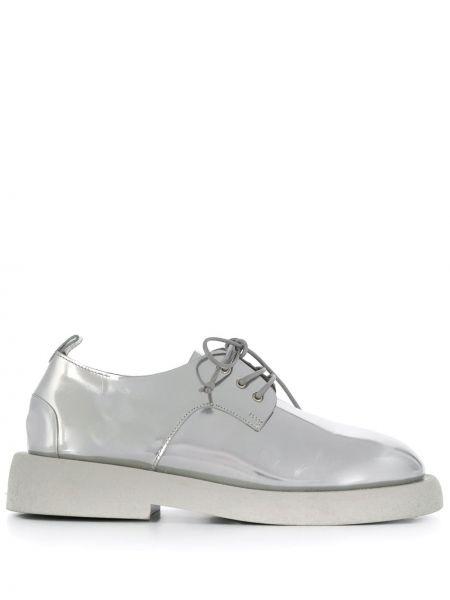Ażurowy srebro buty brogsy z prawdziwej skóry na sznurowadłach Marsell