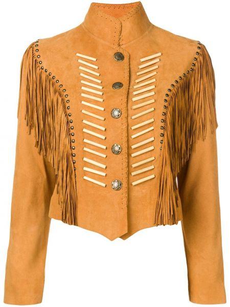 Асимметричная куртка на кнопках с воротником с бахромой Jessie Western
