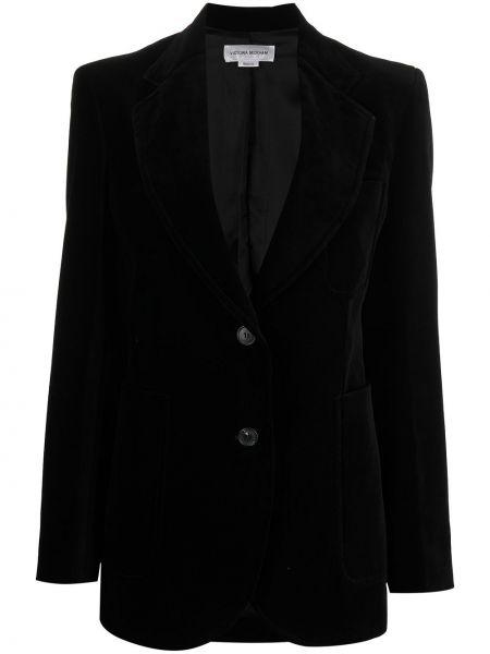 Бархатный однобортный черный удлиненный пиджак Victoria Beckham