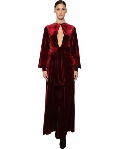 Бархатное платье макси с длинными рукавами с поясом Luisa Beccaria