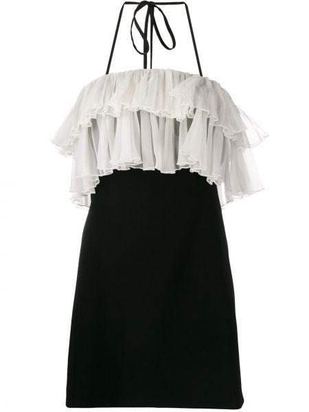 Черное шелковое платье мини с оборками с вырезом Alexis