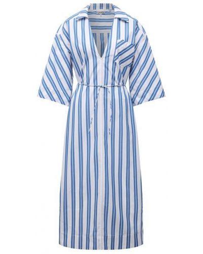 Голубое хлопковое платье Ganni
