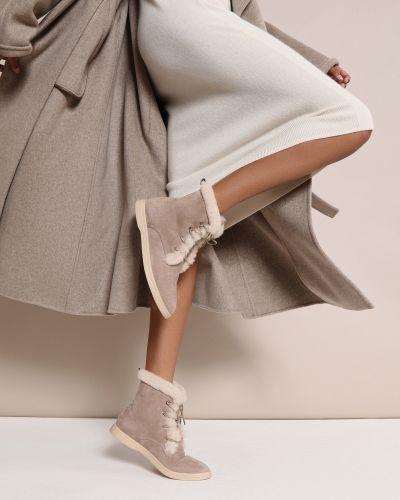 Кожаные ботинки - бежевые 12storeez