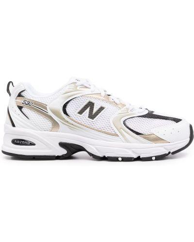 Белые массивные кроссовки сетчатые на шнуровке New Balance