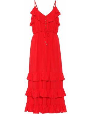 Платье миди из вискозы с оборками Melissa Odabash