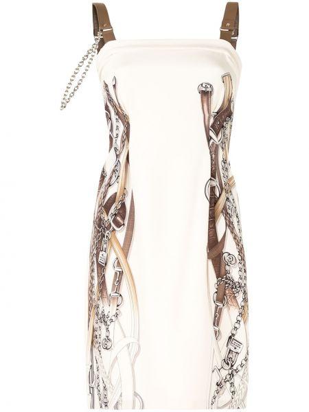 Плиссированное шелковое платье с вырезом квадратное Gucci Pre-owned