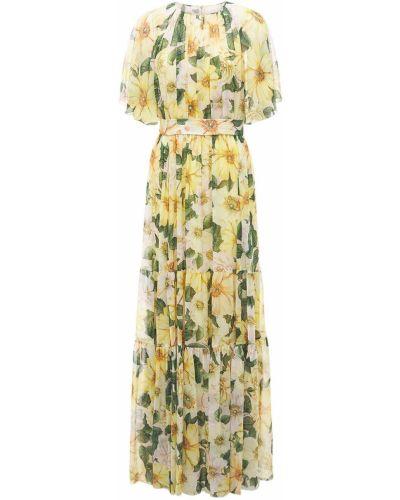 Желтое шелковое платье макси с поясом Dolce & Gabbana