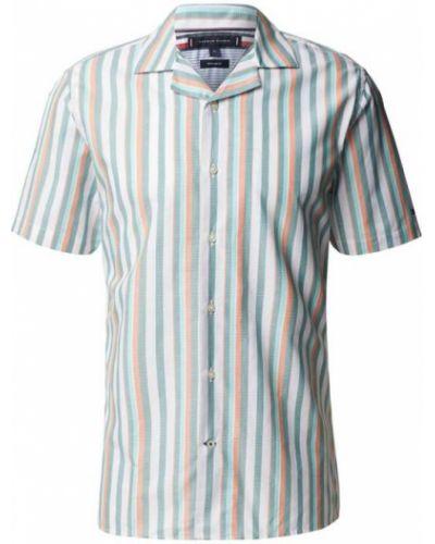 Koszula bawełniana krótki rękaw w paski Tommy Hilfiger