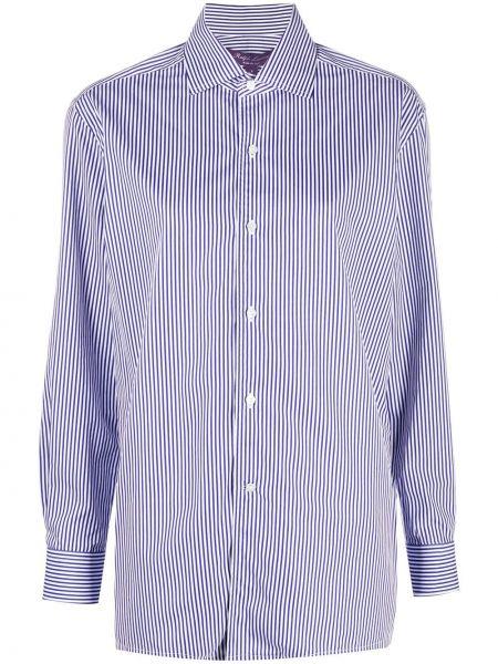 Синяя рубашка с манжетами на пуговицах с нашивками Ralph Lauren