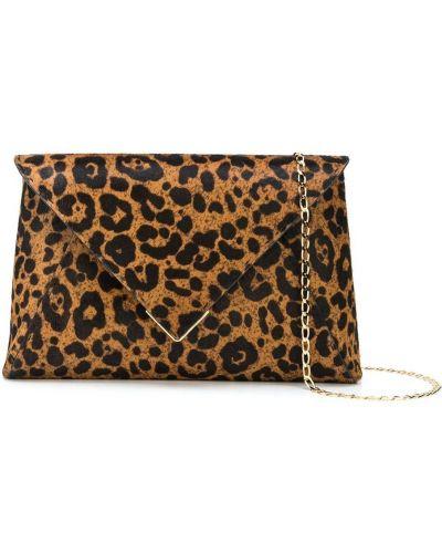 Золотистая шерстяная коричневая сумка на цепочке с карманами Tyler Ellis