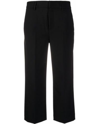 Брючные шерстяные черные укороченные брюки с поясом Dondup