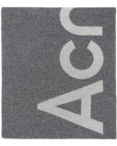 Wełniany biały szalik z logo prostokątny Acne Studios