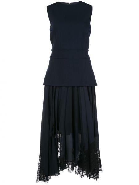 Синее платье со складками без рукавов с вырезом Oscar De La Renta