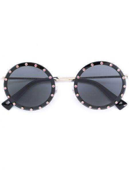 Прямые муслиновые черные солнцезащитные очки круглые Valentino Eyewear