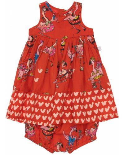 Хлопковое платье - красное Stella Mccartney Kids