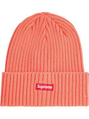 Pomarańczowa czapka z akrylu Supreme