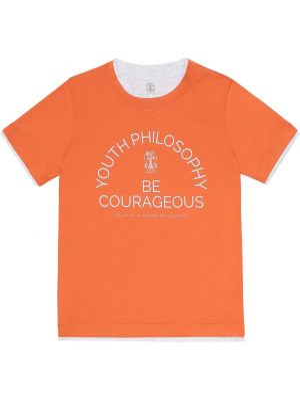 Оранжевая хлопковая рубашка Brunello Cucinelli Kids