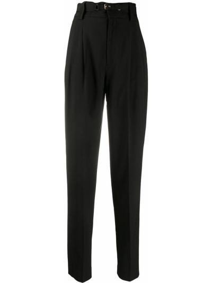 Czarne spodnie z wysokim stanem wełniane Redvalentino