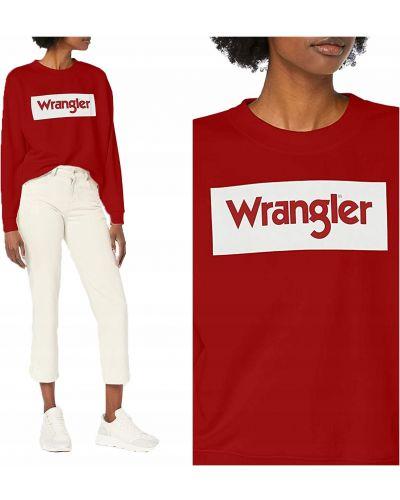 Bawełna czerwony z rękawami bluzka Wrangler