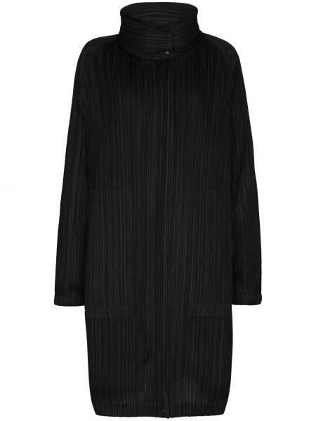Плиссированное черное пальто двустороннее Pleats Please Issey Miyake