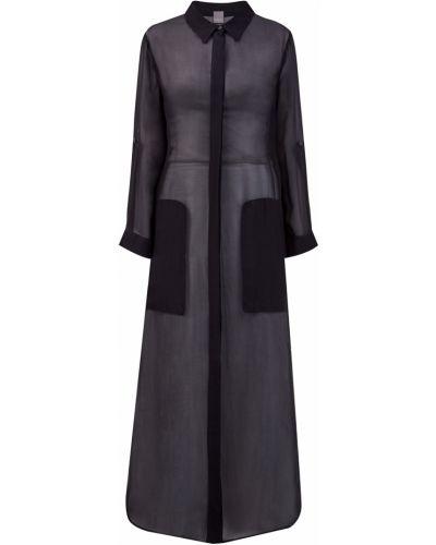 Черное шелковое платье макси с воротником свободного кроя Lorena Antoniazzi