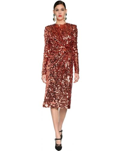 Платье с пайетками на молнии Dolce & Gabbana
