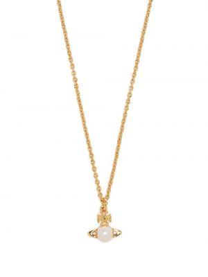 Золотистая подвеска золотая с жемчугом Vivienne Westwood