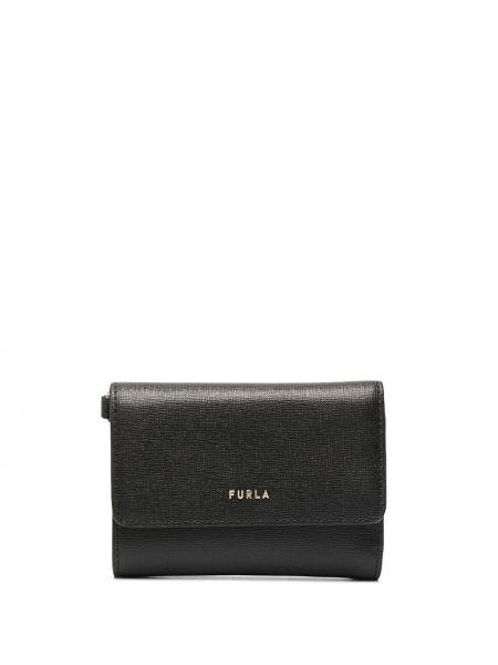 Золотистый черный кожаный кошелек Furla