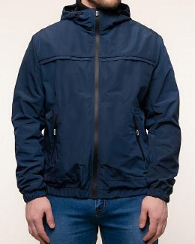 Прямая синяя куртка с капюшоном каляев