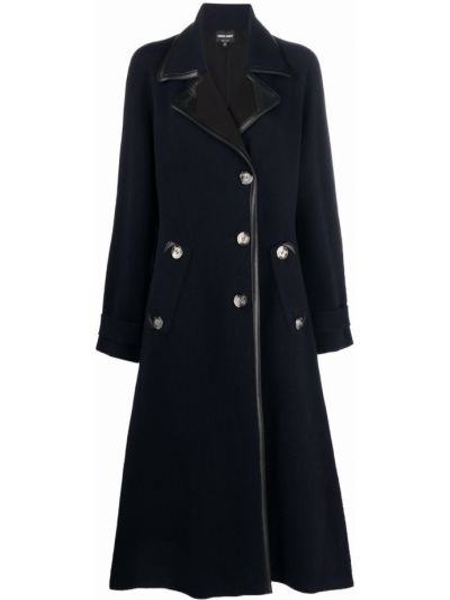 Синее пальто на пуговицах Giorgio Armani