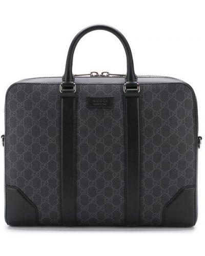Кожаная сумка для ноутбука с отделениями Gucci