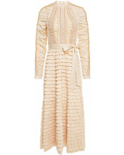Шелковое бежевое кружевное платье миди Zimmermann