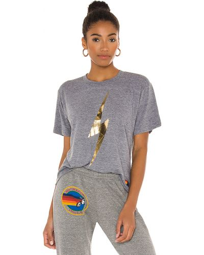 Bawełna bawełna t-shirt złoto z haftem Aviator Nation