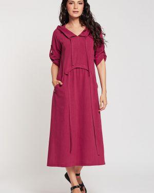 Льняное летнее платье в стиле бохо с капюшоном с разрезами по бокам D`imma Fashion Studio