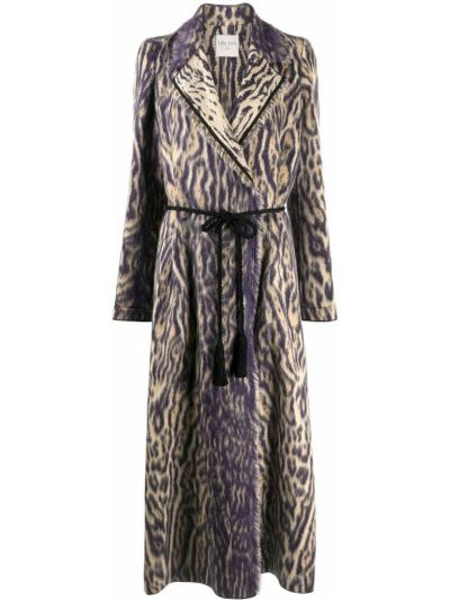 Длинное пальто из альпаки с поясом с лацканами Forte Forte