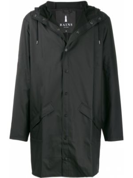 Czarny płaszcz przeciwdeszczowy z długimi rękawami z kapturem Rains