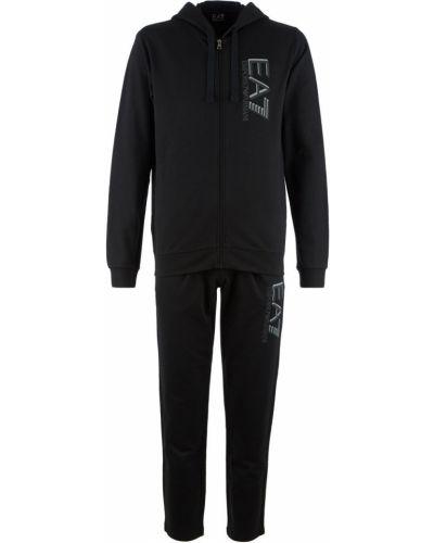 Хлопковый черный костюмный спортивный костюм Ea7