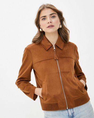 Коричневая кожаная куртка S.oliver