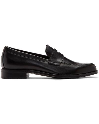 Skórzany czarny z paskiem loafers Paul Smith