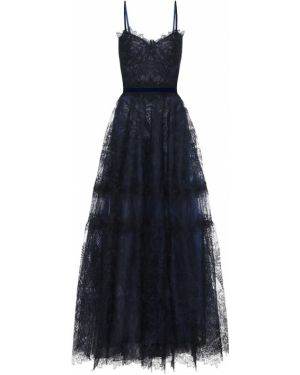 Вечернее платье из фатина с кружевными рукавами Costarellos