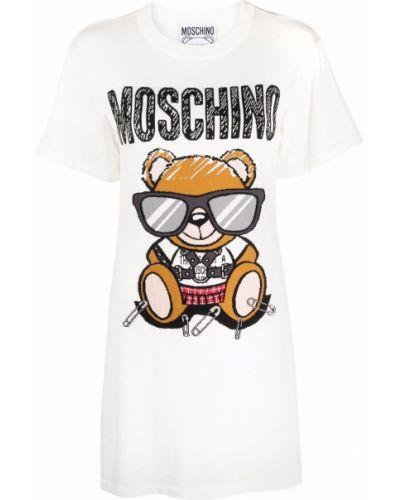 Белое платье рубашка Moschino