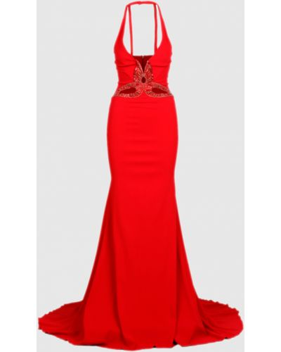 Красное платье макси со шлейфом Roberto Cavalli