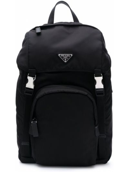 Czarny plecak klamry Prada