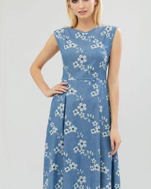 Джинсовое платье приталенное на молнии Cardo