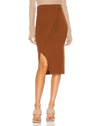 Шелковая юбка миди - коричневая Enza Costa