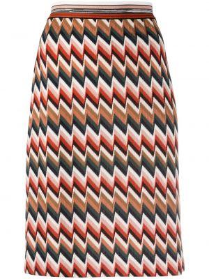 Коричневая шерстяная с завышенной талией юбка карандаш Missoni