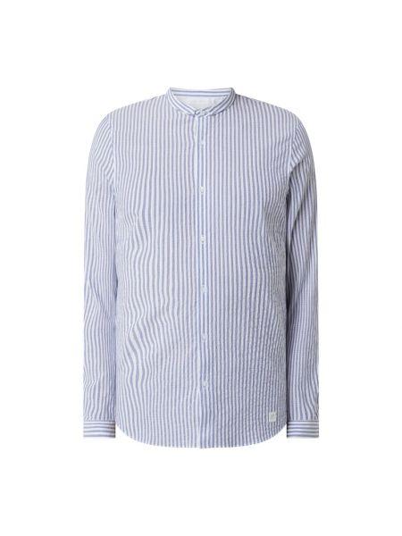Niebieska koszula slim bawełniana w paski Nowadays